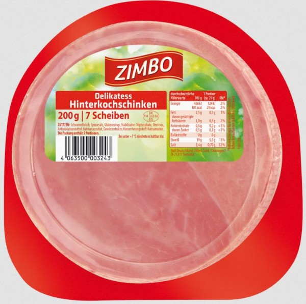 Zimbo Delikatess Hinterkochschinken 200g