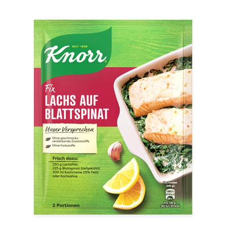Knorr Fix Lachs auf Blattspinat für 2 Portionen