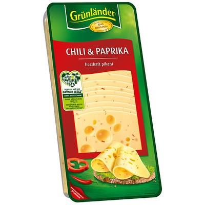 Grünländer Chili & Paprika Käse in Scheiben 48% 500g