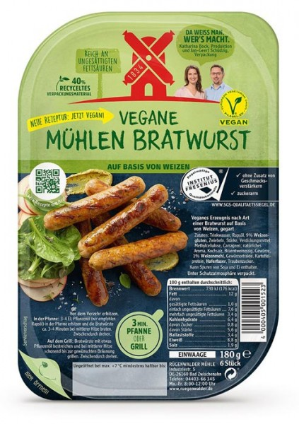 Rügenwalder Mühle Vegane Mühlen Bratwurst 180g