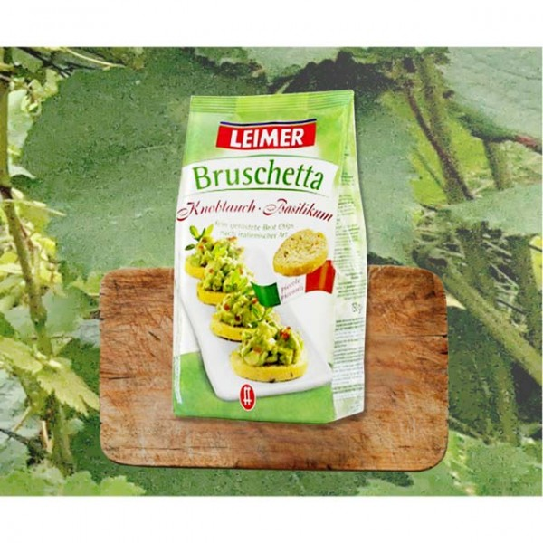 Leimer Bruschetta Brot Chips Knoblauch-Basilikum 150g