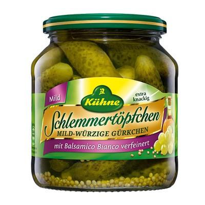 Kühne Schlemmertöpfchen mild-würzige Gürkchen mit Balsamico Bianco 580ml