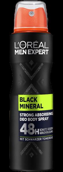 Loreal MEN Deo Spray Black Mineral, 48H, 150ml