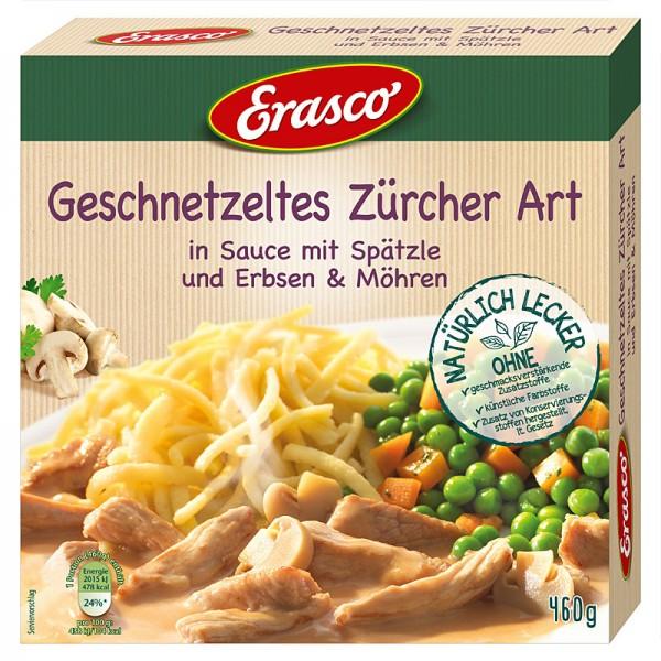 Erasco Geschnetzeltes Zürcher Art in Sauce mit Spätzle, Erbsen & Möhren 460g