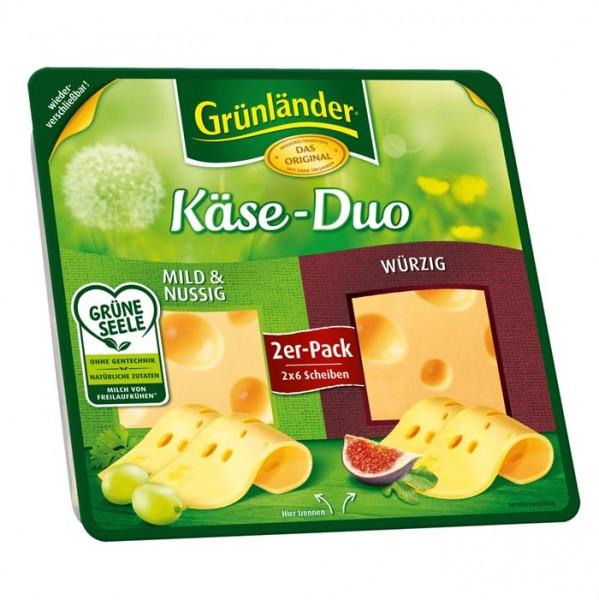 Grünländer Käse-Duo, Mild & Nussig / Würzig, Käse Scheiben 120g
