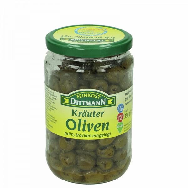 Dittmann Kräuter Oliven grün trocken eingelegt 370ml