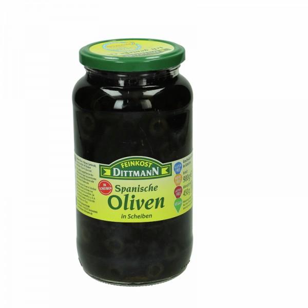 Dittmann Spanische Oliven schwarz in Scheiben 935ml