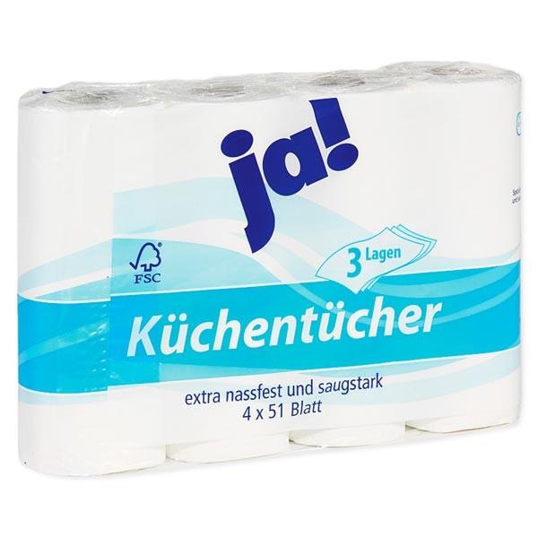 Küchenrolle, Küchentücher 3-lagig 4x51 Blatt