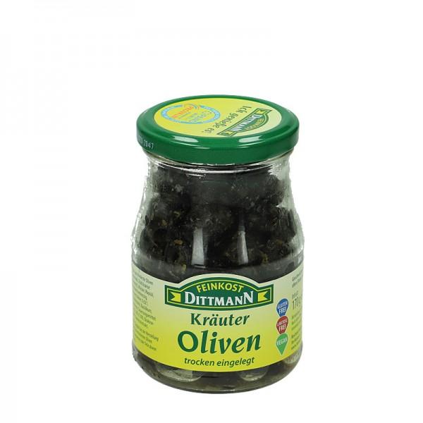 Dittmann Schwarze Kräuter Oliven trocken eingelegt 370ml