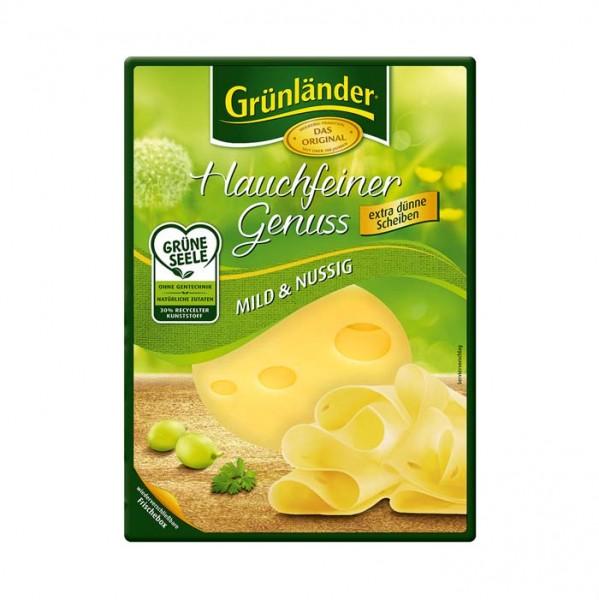 Grünländer Hauchfeiner Genuss, Mild & Nussig, Käse Scheiben 110g