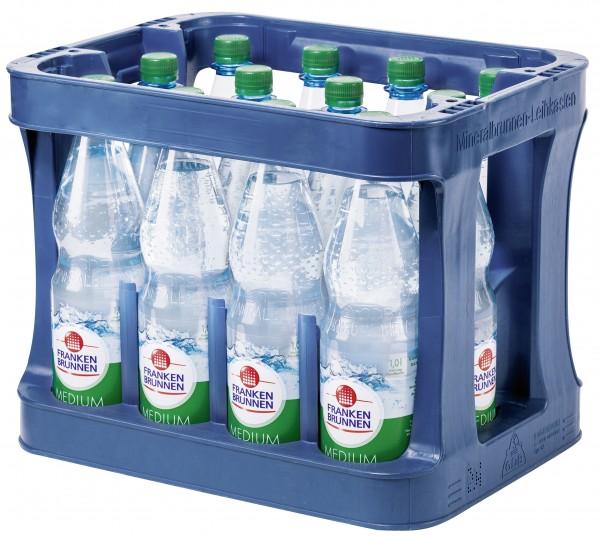 Franken Brunnen Mineralwasser Medium, 12 x 1,0L, PET