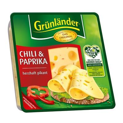 Grünländer Chili & Paprika Käse in Scheiben 48% 130g
