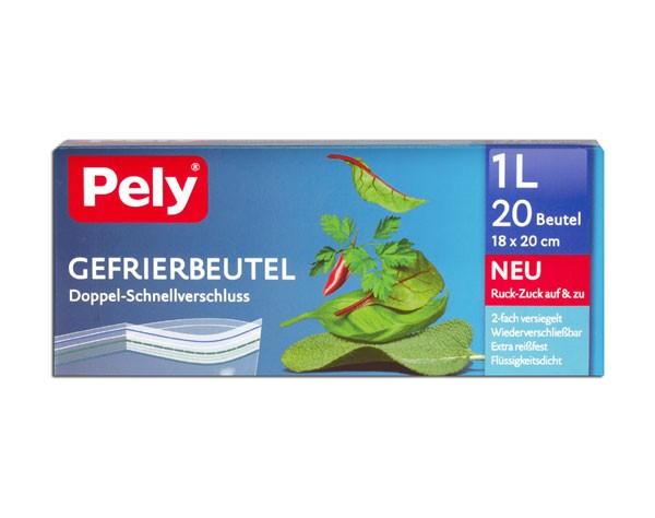 Pely Gefrierbeutel 20x1L mit Doppel-Schnellverschluss