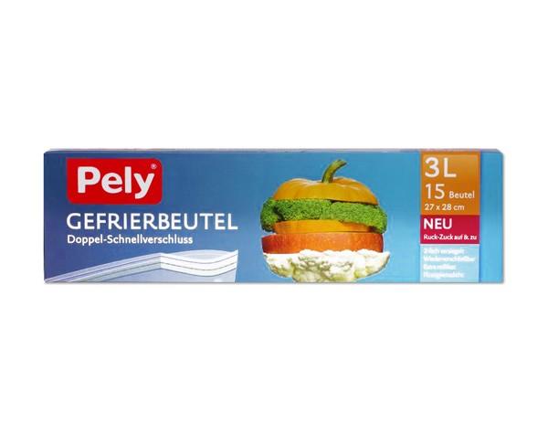Pely Gefrierbeutel 15x3L mit Doppel-Schnellverschluss