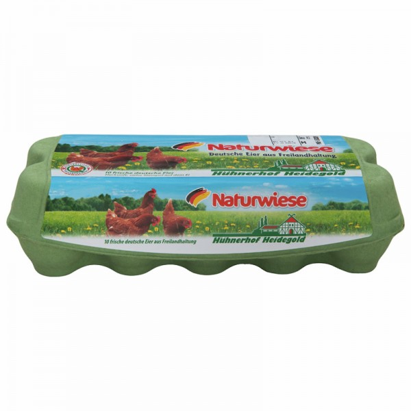 Naturwiese 10 frische Eier aus Freilandhaltung, Gew. Kl. M