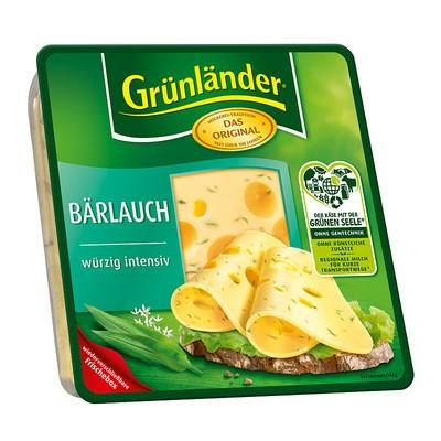 Grünländer Bärlauch Käse in Scheiben 48% 130g