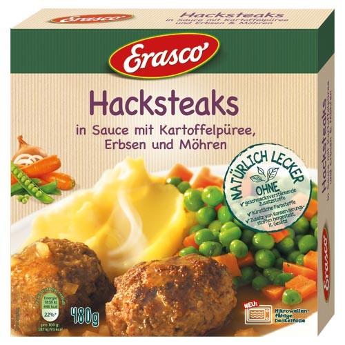 Erasco Hacksteaks in Sauce mit Kartoffelpüree, Erbsen & Möhren 480g