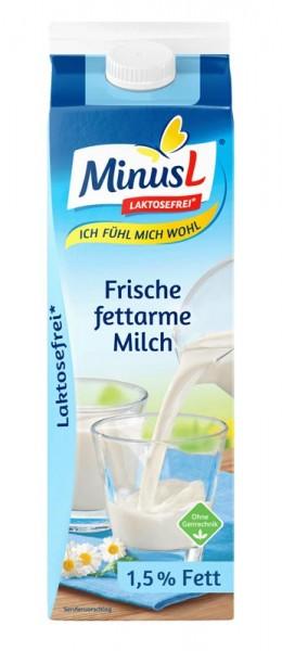MinusL Frische fettarme Milch 1,5%, Laktosefrei*, 1L