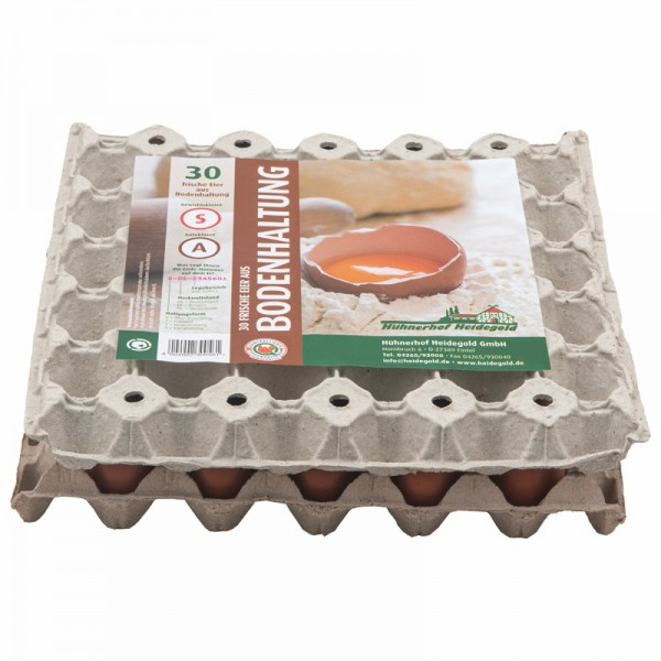 30 frische Eier Bodenhaltung, Gew. Kl. S